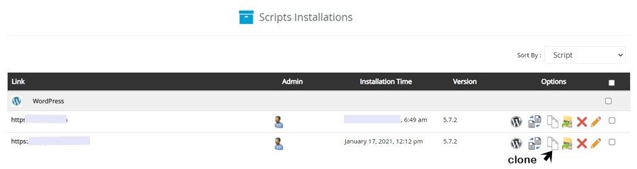 script installations page