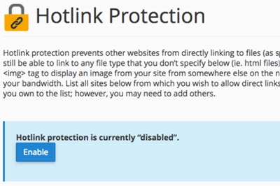 Click on enable Hotlink protection