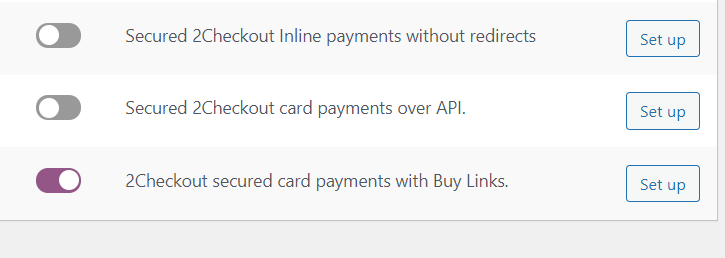 2Checkout secured card payments with Buy Links Settings