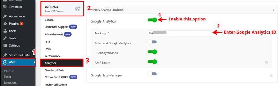 Paste the Google Tracking ID in Tracking ID Section